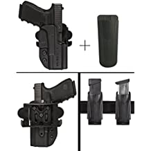 Ultimate Arms Gear Comp-Tac International Glock 19 23 32 Outside The Waistband Kydex Competition/Concealed Carry/General Holster, Right + Paddle + Drop Offset + Belt Mount Magazine Holder