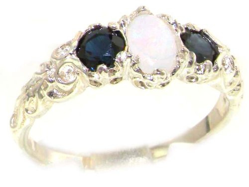 Ladies Solid 14K White Gold Natural Opal & Sapphire English Victorian Trilogy Ring - Size 5 - Sizes 4 to 12 by LetsBuyGold