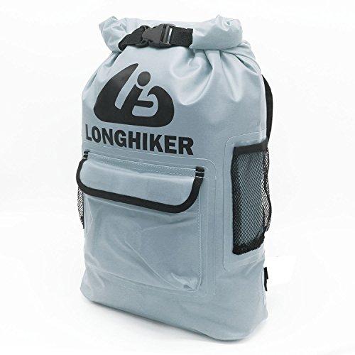 LONGHIKER Waterproof Backpack Dry Bags-Padded Shoulder Straps – Mesh Side Pockets-Easy Access Front Pocket (Grey, 20L)