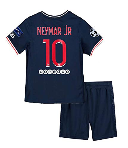 Paris 2020-2021 New Season #10 Neymar Kids/Youth Soccer Home Jersey & Shorts & Armbands T-Shirts Color Blue
