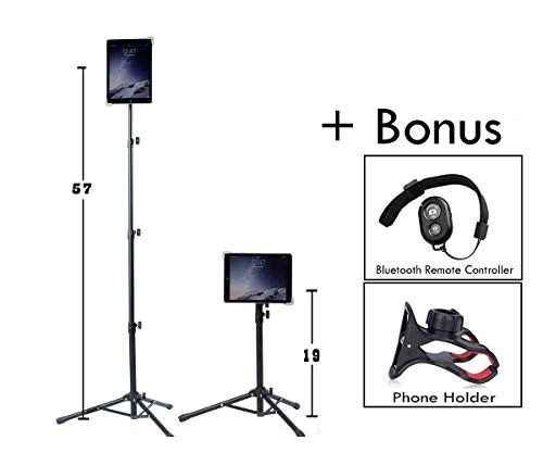 Universal Floor IPad and Tablet Tripod Stand Mount +COMPLIMENTARY BLUETOOTH SHUTTER REMOTE. Fits iPad mini, iPad Air, Samsung Galaxy, Dell, Sony, Microsoft Surface, Google Nexus CARRYING CASE INCLUDED