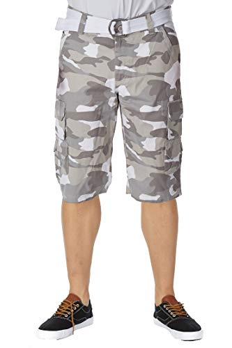 - Men's Belted Stacked Cargo Shorts with Hidden Snaps | 12.5
