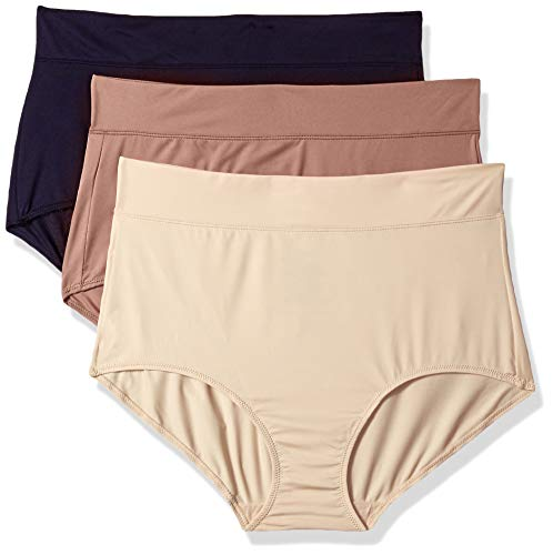 Warner's Women's No Pinching No Problems with Lace Hi-Cut 3 Pack Panties, Evening Blue/Mocha/Sand, 08 ()