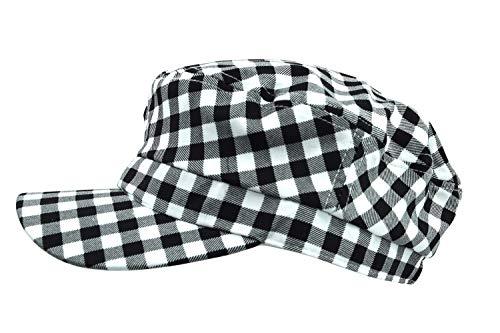 Skelapparel Bohemian Black and White Checker Newsboy Visor Beret Cabbie hat Summer