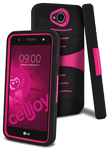 LG X Power 2 Case, LG Fiesta LTE Case, LG LV7 Case, LG K10 Power Case, CellJoy [Extreme Kickstand Armor] Dual Layer Hybrid [Heavy Duty] ((Shock-proof)) Rugged Premium Protective Hard Cover (Pink)