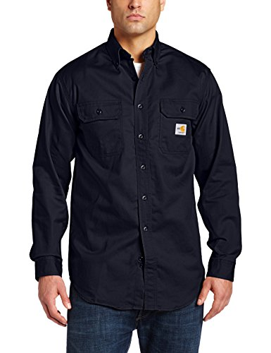 Flame Resistant Apparel (Carhartt Men's Flame Resistant Classic Twill Shirt,Dark Navy,Large)