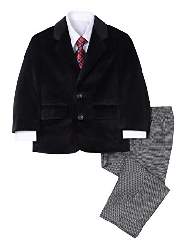 Nautica Boys' 4-Piece Suit Set with Dress Shirt, Tie, Jacket, and Pants, original houndstooth black, 24 Months ()