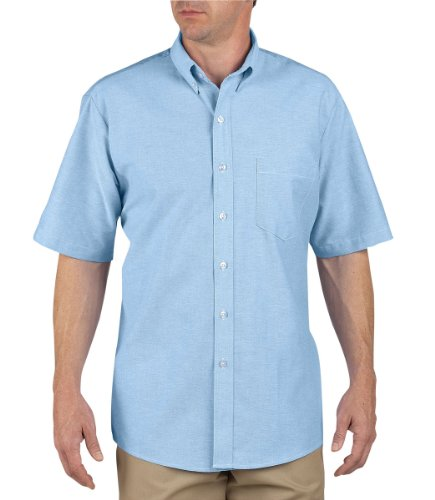 Dickies Shirt Short Sleeve Oxford - Dickies Occupational Workwear SS46LB 175 Polyester/Cotton Men's Button-Down Short Sleeve Oxford Shirt, 17-1/2
