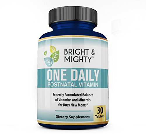 Bright & Mighty One Daily Postnatal Multivitamins for Women - with 800 Mcg Folic Acid & Vitamin E - Supports Lactation & Energy - Like Prenatal Vitamins But for Postpartum - One A Day