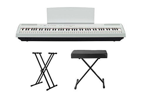 Yamaha P115WH Digital Piano w/ Knox Adjustable Double X Stand & Knox Adjustable X Style Bench