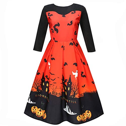 iYBUIA Novelty Women Halloween Printing Three Quarter Casual Evening Party Prom Swing Dress(Orange,L)