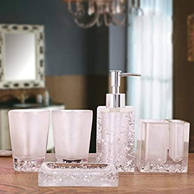 """Generic 5-Piece Resin Bathroom Accessory Set with Soap Dish, Dispenser, Toothbrush Holder and Tumbler, White - Contemporary deluxe ceramic 5 piece bathroom accessory set includes 1 round soap dish, 1 lotion/soap pump dispenser, 1 toothbrush holder (holds up to 4 toothbrushes), and 2 tumbler. Soap Dispenser: 2.4"""" x2.4""""x 7.1"""", Toothbrush Holder: 2.7"""" x 3.3"""", Tumbler: 2.5"""" diameter x3.9"""", Soap Dish: 4.3"""" x 2.8"""" x 0.79"""" Perfect accessories set for master bath, guest bath or kids bath. Also suitable for commercial use. - bathroom-accessory-sets, bathroom-accessories, bathroom - 41oEVw2yljL. SS400  -"""
