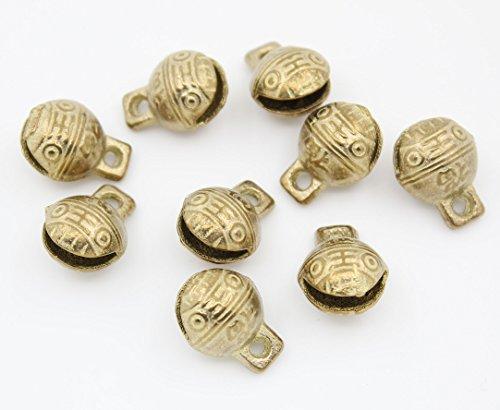 100pcs Collectibles 14mmX18mm Tibetan Brass Craft Tiger's Head Bells feng Shui