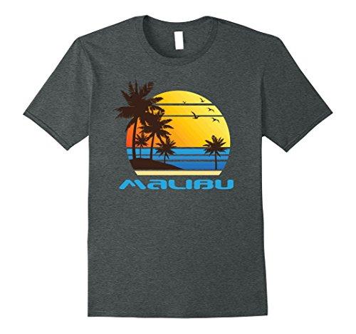 Mens Malibu Beach Surf T Shirt Summer Sun Fun Ski Tee Shirt Xl Dark Heather