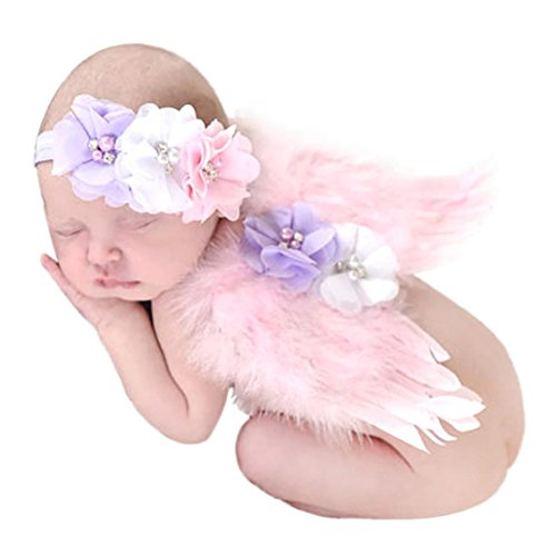 TiTCool Baby Cute Photo Prop,Lovely Angel Feather Wings Wing Feather Baby Girls Hair Accessories