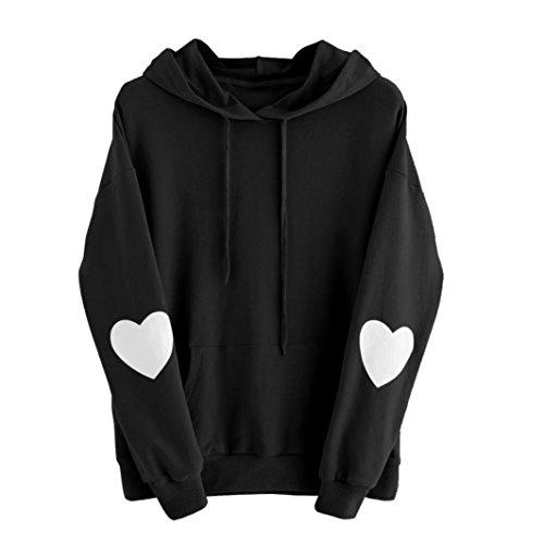 Long Sleeve Heart Hoodie Sweatshirt Jumper Hooded Pullover Tops Blouse (S, Black) (Heart Pullover Hoody Sweatshirt)