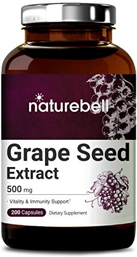 Maximum Strength Grape Seed Extract 500mg, 200 Capsules, Natural Antioxidant for Heart, Skin, Nails and Vascular System, No GMOs and Made in USA