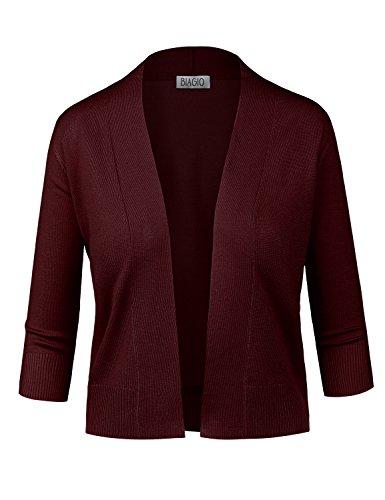 (BIADANI Women Classic 3/4 Sleeve Crop Cardigan Burgundy)