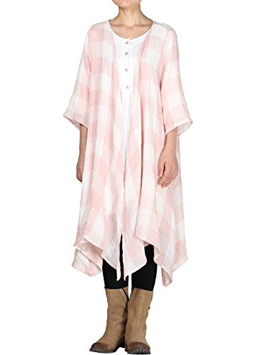 Mordenmiss Women's Classic Open Front Lightweight Soft Drape Cardigan (L (Fit US 16-20), 3/4 Sleeve-Light Pink) by Mordenmiss (Image #1)