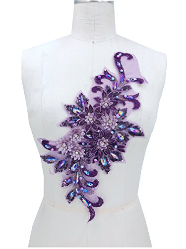 (purple Rhinestones Flower Applique Beaded Sequined Floral Patches Wedding Lace Appliques Sew on Dress Gown 38x16cm)