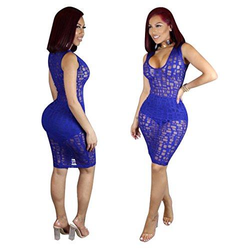 Neue 2-teilig blau-Mesh Bodycon Mini Kleid Club Wear Party Wear Pole Dance Wear Größe M UK 10EU 38