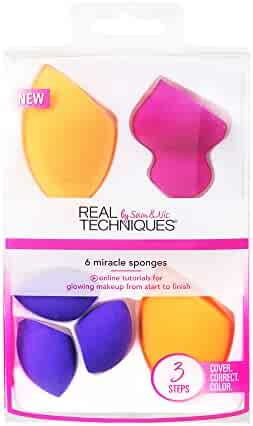 Real Techniques 6 Miracle Complexion Sponges Make Up Brush Set, With Revolutionary Foam Technology You Can Use Damp or Dry for a Smooth, Finished Look