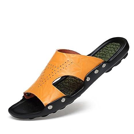 Sommer Sandalen, echtem Leder toe beiläufige Schuhe, Herren Hausschuhe, Wort ziehen, Löchern, Loch Schuhe, 39, Schwarz 6066