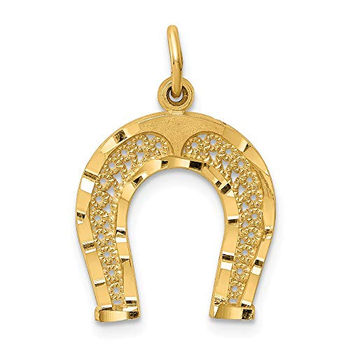 14k Yellow Gold Horseshoe Pendant Charm Necklace Good Luck Italian Horn Animal Horse Man Fine Jewelry Gift For Dad Mens For Him