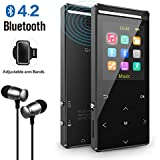 MP3 Player with Bluetooth, 8GB Portable Digital Music Player with FM Radio/Recorder,HiFi Lossless Sound Quality,Music Direct Recording,Expandable up to 128GB TF Card,with Armband, Black
