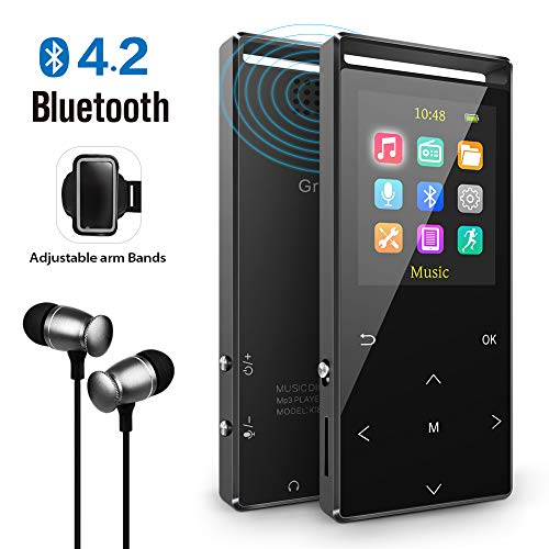 Grtdhx MP3 Player with Bluetooth, 8GB Portable Digital Music Player with FM Radio/Recorder,HiFi Lossless Sound Quality,Music Direct Recording,Expandable up to 128GB TF Card,with Armband, Black