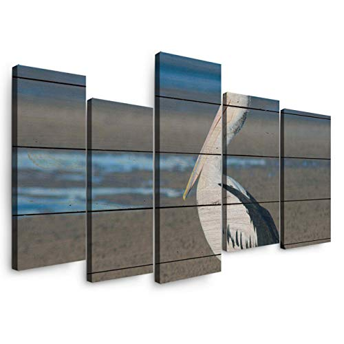 5 Panels Canvas Print Wall Art - Pelican Walking On The Beach On A Wood Grain Background - Wall Decor Pictures for Living Room Modern Artwork Stretched and Framed Ready to Hang (14X284+14X40In)
