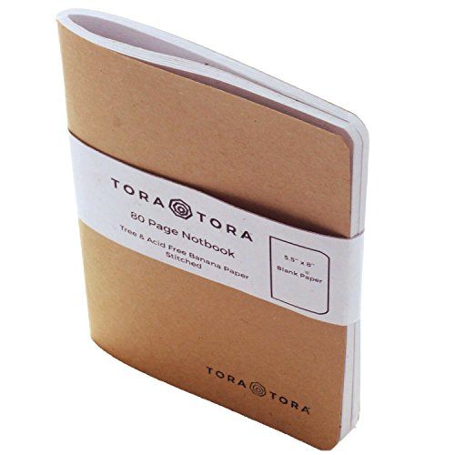 Express Costume Hire (Kraft Banana Paper Notebook (5.5'' x 8'') - 100% Tree & Acid Free - 125gr Paper, Spine Sewn, Thick Kraft Cover - 80 Blank Pages (Raw Notebook Refill))
