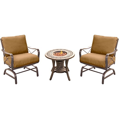 Hanover SUMRNGT3PC-URN Summer Nights 3 Piece Fire Pit Chat Set with Two Cushioned Rockers and a 10,000 BTU Fire Pit Side (Tabletop Fire Urn)