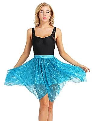Agoky Women's Glitter Polka Dots Chiffon Ballet Wrap Skirts Asymmetric Latin Dance Half Leotard Skirts