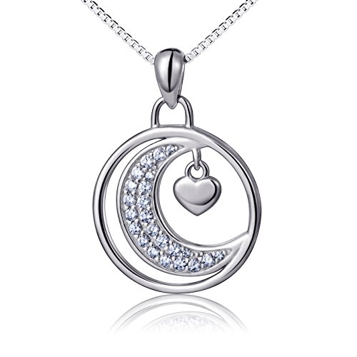 To the Moon and Back Moon & Heart Necklace