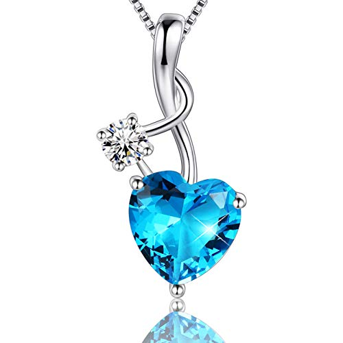 EURYNOME 925 Sterling Silver Music Note Blue Birthstone Love Heart Pendant Necklace,Box Chain 18''
