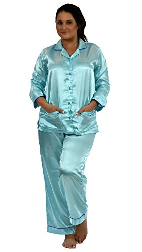 (Up2date Fashion Womens Satin Pajama Set with Piping (L, Aqua))