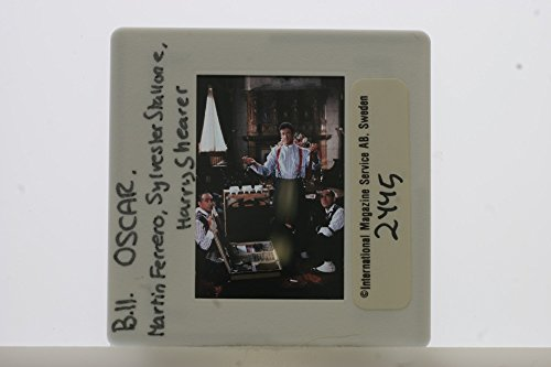 "Slides photo of A spot of Sylvester Gardenzio Stallone, Harry Julius Shearer and Martin Ferrero from the 1991 American screwball comedy film directed by John Landis ""Oscar""."