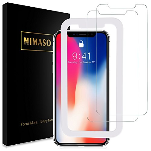 [2 Pack] iPhone X Screen Protector, Nimaso Tempered Glass Screen Protector Applicator Frame/ 3D Touch Compatible/ Ultra Clear/ 9H Hardness/ Anti-Fingerprint/ Bubble-Free for Apple iPhone X / 10 3 X Applicator