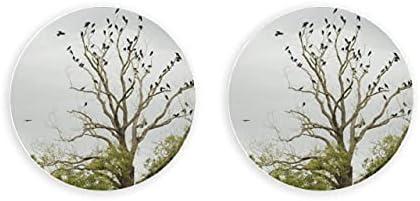Siluetas de cuervos pájaros en árbol desnudo abridor de botellas magnético 2 piezas abridor de botellas imanes de nevera