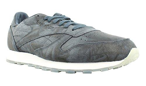 Reebok Men's CL Leather Cte Fashion Sneaker, Smoky Indigo/White, 11 M US - Medium Purple Leather Footwear
