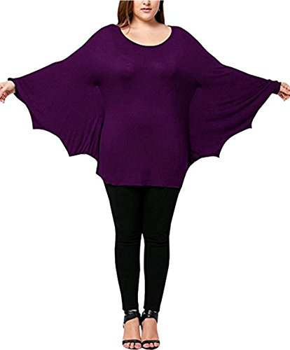 Plus Size Women's Scoop Neck Long Sleeve Halloween Shirts Tops Cozy Bat Costume -