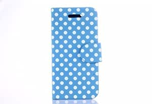 Cute Polka Dots Pattern Leather Flip Fit Case Cover Stand Protector For New Apple iPhone 5C (Light Blue+White)
