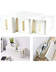 (Set of Three) Cable Management Organizer Box Power Strips Hider Power Cords Hider for Desk, TV, Computer, USB Hub, Cords