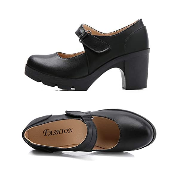 DADAWEN Women's Leather Classic Mid Heel Mary Jane Square Toe Oxfords Platform Dress Pumps Shoes