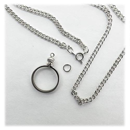 Coin Holder Bezel Dime USA 10 Cent Silver Tone Link Necklace 20