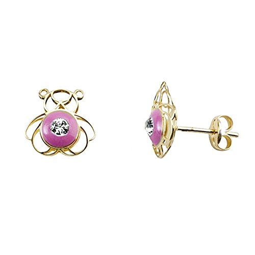Boucled'oreille or 18k émailler ours zircone cubique rose [AA5500]