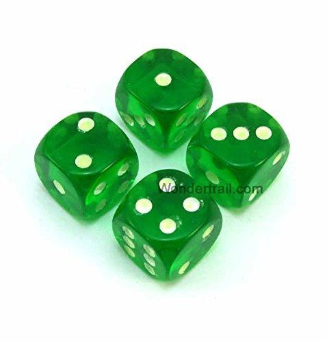 【大注目】 WKP01881E4 Green Transparent with B00VWX198G Glow in (5/8in) the Dark Pips (d6) Dice 16mm (5/8in) Six Sided (d6) Pack of 4 Dice B00VWX198G, バリ雑貨MANJA:7c820e1d --- egreensolutions.ca