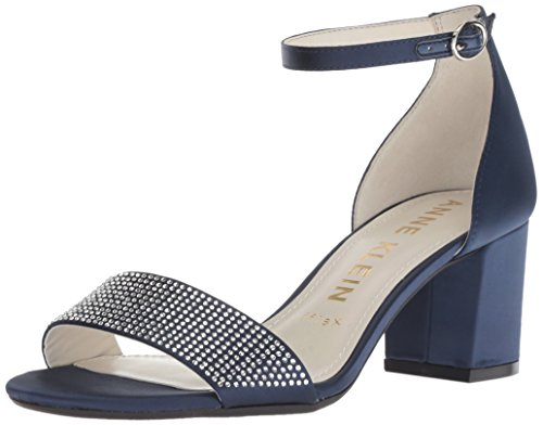Anne Klein Women's Cordelia Dress Sandal Pump, Navy Satin, 9 M US