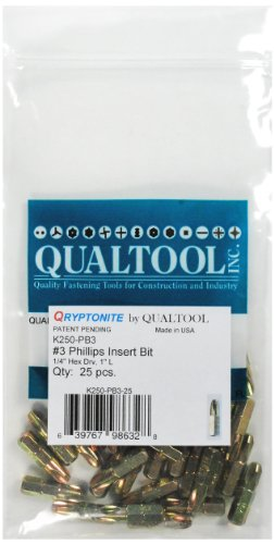- Qualtool Qryptonite K250-PB3-25 Number 3 Phillips Insert Bit, 25-Pack